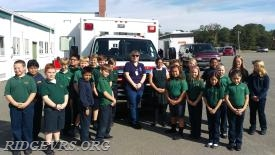 Ambulance 496 at St. Michael's for Fire Safety Prevention.  Lt. Christina Gillespie.